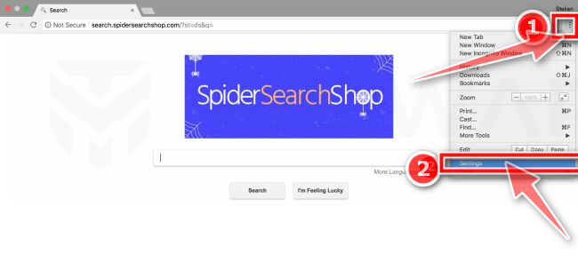 Haga clic en el botón de menú de Chrome y luego en el botón de configuración de MacOS