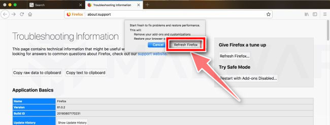 Haz clic de nuevo en el botón Actualizar Firefox macos