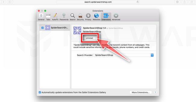 Haga clic en Desinstalar para eliminar el virus de la extensión maliciosa