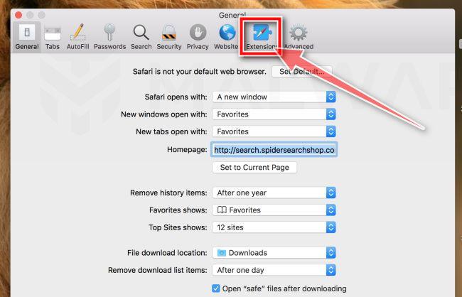 Haga clic en Extensiones MacOS
