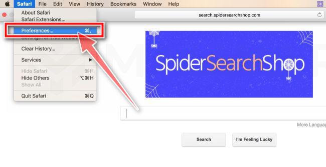 En la barra de menús, haga clic en Safari y luego en Preferencias
