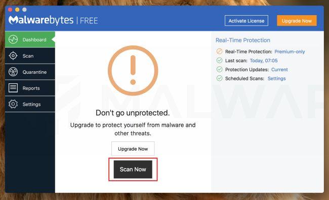 Malwarebytes para Mac escanea ahora