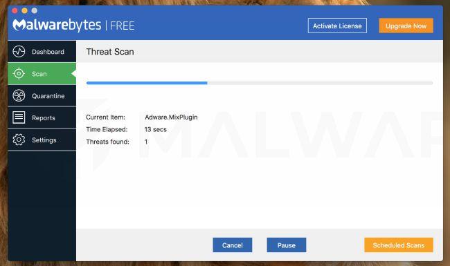 Malwarebytes para Mac escanea en busca de virus
