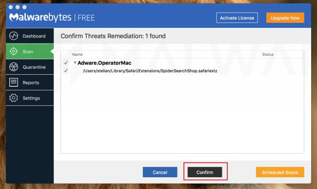 Malwarebytes para Mac - Eliminar el malware