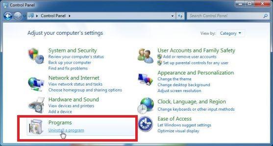 Seleccione Desinstalar un programa en el menú Ayuda del Panel de Control de Windows 7