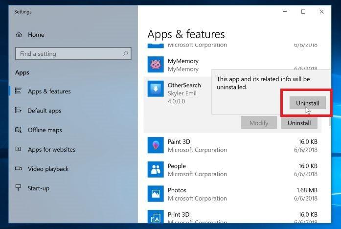 Haga clic en el botón de desinstalación de nuevo para eliminar el programa malicioso - Windows 10