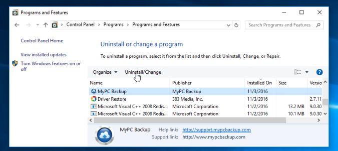 Desinstalar MyPC Backup
