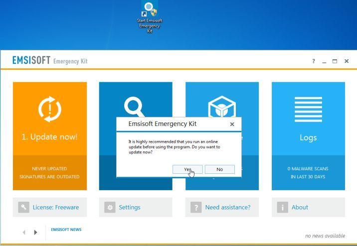 Actualizar el kit de emergencia de Emsisoft