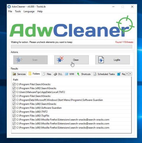 AdwCleaner elimina el malware