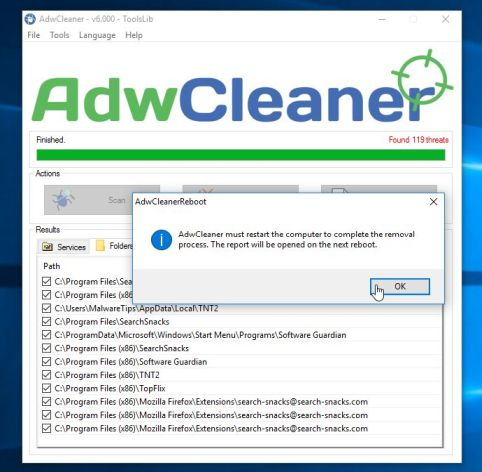 AdwCleaner reinicia su PC