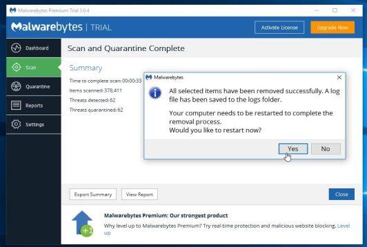 Reinicia el ordenador para completar el proceso de eliminación del malware