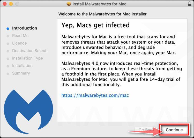 Haga clic en el botón Continuar para instalar Malwarebytes para Mac