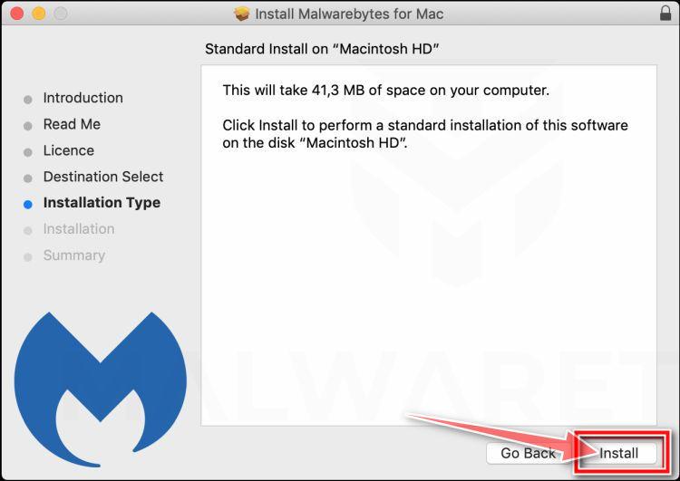 Haga clic en Instalar para instalar Malwarebytes en Mac