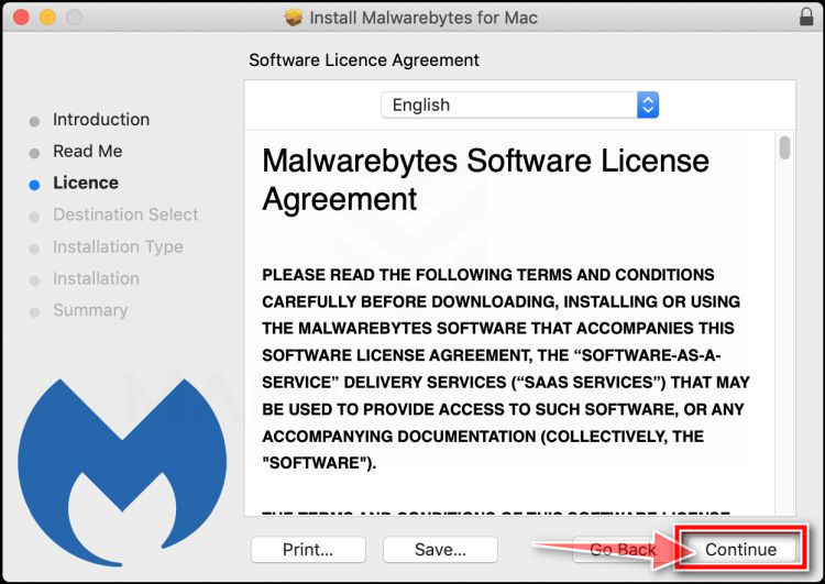 Vuelva a hacer clic en Continuar para instalar Malwarebytes for Mac para Mac