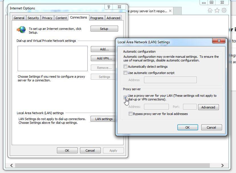 Eliminar Utilizar un servidor proxy para su LAN