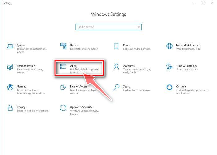 Windows 10: haga clic en Apps
