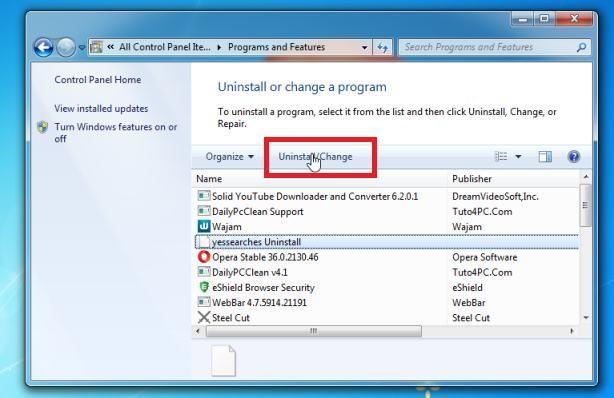 Desinstalar programas maliciosos de Windows 7