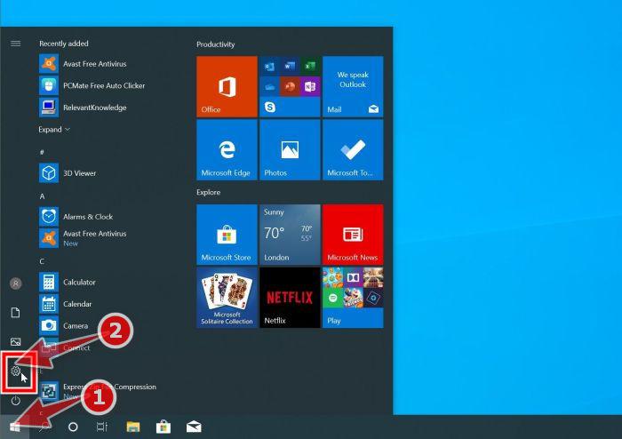 Windows 10: Haga clic en el botón Inicio y luego en Configuración