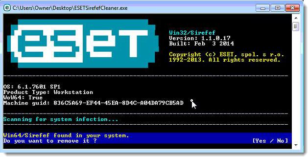 Virus ESETSirefefCleaner detectado