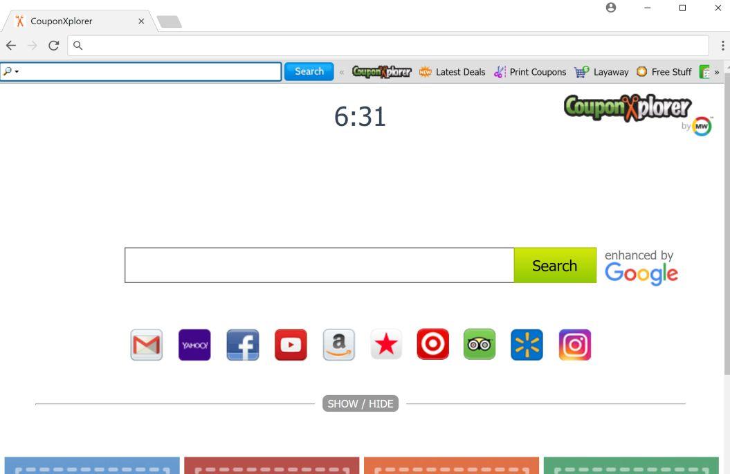 Redirección de la barra de herramientas de CouponXplorer