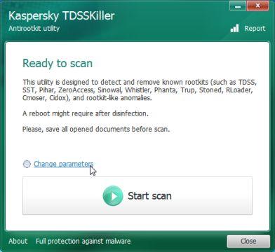 Kaspersky TDSSKiller cambia la configuración