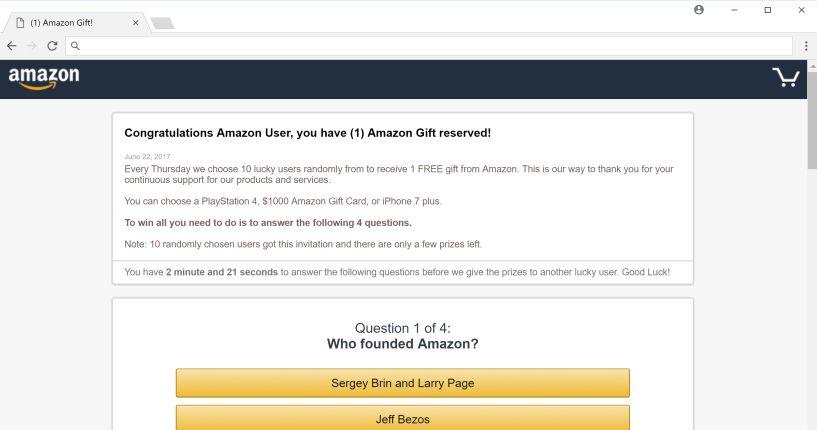Felicidades usuario de Amazon Virus